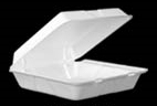 "Picture of item 217-109 a Foam Hinged Lid Container with Perforated Removable Lid.  Single Compartment.  9.5"" L x 9.3"" W x 3.0"" H.  White Color.  200 Containers (2 Sleeves/100 Ct Each)"
