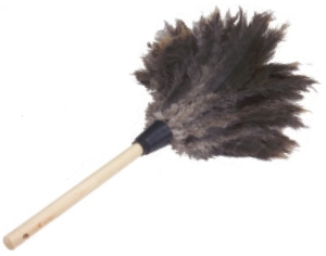 "Picture of item 515-101 a Economy Feather Duster.  Ostrich Feathers.  12"" Plume with 1/2"" Diameter Handle.  22"" Overall Length."