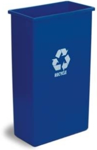 "Wall Hugger™ Recycling Receptacle.  23 Gallon.  11-1/2"" x 19-3/4"" x 30-1/2"" Tall.  Blue Color with Recycle Logo."