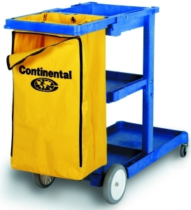"Picture of item 563-101 a Janitor Cart.  55"" x 30"" x 38"".  Blue Color.  25 Gallon Heavy-Duty Zippered Vinyl Bag."