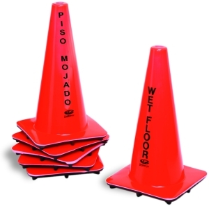 "Caution Cone.  Printed ""Wet Floor"" in English and Spanish.  18"" Tall.  Orange Color."