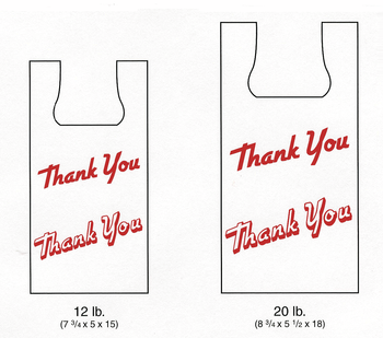 "Picture of item 705-197 a Plas-T-Sak High Density T-Shirt Bag.  12 lb.  White, Printed ""Thank You"".  7-3/4"" x 5"" x 15""."
