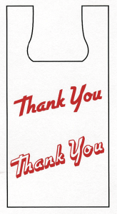 "Picture of item 705-199 a Plas-T-Sak High Density T-Shirt Bag.  20 lb.  White, Printed ""Thank You"".  8-3/4"" x 5-1/2"" x 18""."