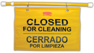 "Site Safety Hanging Sign with Multi-Lingual ""Closed for Cleaning"" Imprint."