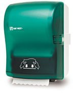 Picture of item 974-749 a Silhouette® OptiServ™ Hands-Free Controlled-Use Roll Towel Dispenser.  Green Translucent.