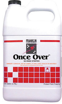 Picture of item 680-202 a Once Over™ Floor Stripper.  No-rinse stripper.  Safe on most resilient and non-resilient floors including mineral surfaces, vinyl, vinyl composition, ashpalt, rubber, terrazzo, brick and quarry tile.  1 Gallon.