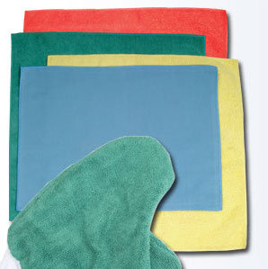 "Picture of item 535-432 a Microfiber Dust Cloths.  16"" x 16"".  Green Color.  General Purpose Cloth."