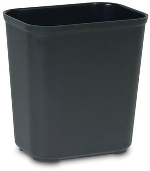 "Picture of item 970-754 a Fire Resistant Wastebasket.  28 Quart.  14-1/2"" x 10-1/2"" x 15.3"".  Black Color.  UL Rated."