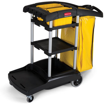 "Picture of item 970-867 a High Capacity Cleaning Cart.  49-3/4"" x 21-3/4"" x 38-3/8"".  Black Color.  4"" Swivel Casters, 8"" Wheels.  Includes two removable 10 Quart Disinfecting Caddies.."