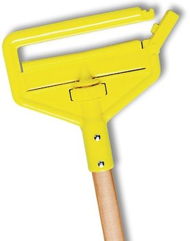 "Picture of item 970-758 a Invader® Side Gate Wet Mop Handle. Large Yellow Plastic Head. 60"" Hardwood Handle. Use with narrow headband mops."