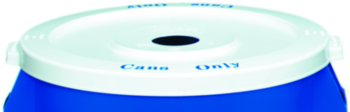 "Huskee™ Round Recycling Lid with Can Opening.  22-1/4"" Diameter x 1-3/8"".  White Color.  Fits 32 Gallon Container."