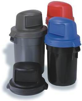 "Huskee™ Dome Top Lid.  22-1/4"" Diameter x 11-3/4"".  Red Color.  Fits 32 Gallon Round Huskee™ Receptacles."