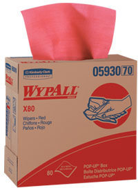 "WYPALL* X80 Wipers.  9.1"" x 16.8"".  Red Color.  80 Wipers/Pop-Up Box. 5 Boxes/Case."