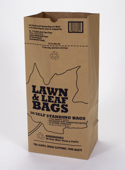 "Picture of item 310-135 a Lawn & Leaf Bag.  Tri-Fold Retail Bale Pack.  Kraft Paper.  16"" x 12"" x 35"".  12/5 packs per bale."