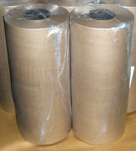 "Kraft Paper Rolls.  40 lb.  Natural.  18"" x 875 Feet.  Shrink Wrapped."