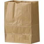 "Picture of item 310-245 a Grocery Sack.  1/8 Barrel.  10-1/8"" x 6-3/4"" x 14-3/8"".  52 lb. Kraft Paper."