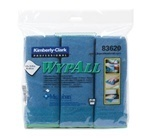 "Picture of item 351-300 a WYPALL* Microfiber Cloths with Microban® Protection.  15.75"" x 15.75"" Wiper.  Blue Color.  6 Wipers/Pack."