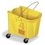 "Splash Guard™ Mop Bucket.  26 Quart.  Yellow Color.  With 3"" non-marking grey casters, embossed graduations and universal caution logo."