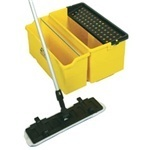 "ErgoWorx™ Touchless Microtek Cleaning System.  Solution bucket w/perforated screen.  5 Gallon.  Yellow with Black Screen.  22"" x 12-3/8"" x 11-5/8""."