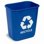 "Picture of item 561-122 a Rectangular Commercial Plastic Recycling Wastebasket.  28 Quart.  10-1/2"" x 14-1/2"" x 15"" Tall.  Blue Color with White Recycle Message."