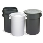 "Huskee™ Round Receptacle.  20 Gallon.  19-1/2"" Diameter x 22-1/2"" Tall.  Gray Color."