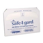 "Safe-T-Gard™ White 1/2-Fold Toilet Seatcovers.  14.3"" x 16.8"".  White Color.  250 Sheets/Package."
