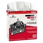 "Brawny Industrial™ 4-Ply Scrim Reinforced Paper Wipers.  9.25"" x 16.7"".  White Color.  166 Wipers/Pop-up Box."