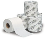 "Picture of item 887-606 a EcoSoft™ Universal-Use Bath Tissue.  4"" x 4-1/2"".  2-Ply.  White Color.  500 Sheets/Roll."