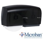 "Picture of item 971-781 a IN-SIGHT* Coreless Twin Bath Tissue Dispenser.  11"" x 20"" x 6"".  Smoke Gray Color."