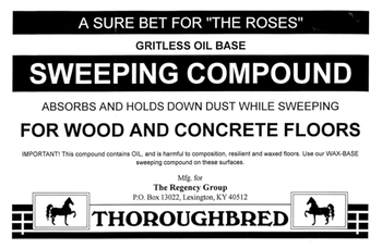 Picture of item 640-102 a Sweeping Compound.  Gritless Oil Base.  No Sand or Oil.  Use on Wood, Concrete, Metal, Painted/Sealed Wood, Tiled Floors.  Will not scratch.  50 lb. Box.
