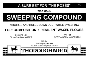 Picture of item 973-741 a Sweeping Compound.  Wax Base.  No Oil, Sand, or Water.  Use on:  Rubber, Asphalt, Tile, Marble, Terrazo.  Will not spot, scratch, or stain.  100 lb. Drum.