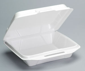 "Picture of item 217-711 a Foam Hinged Container.  Large.  9.25"" x 9.25"" x 3"".  White Color."