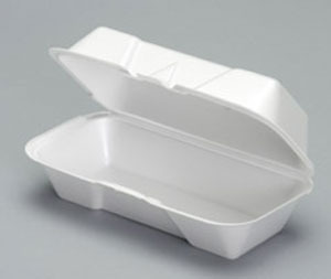 "Picture of item 217-712 a Foam Hinged Container.  Medium Hogie.  8.44"" x 4.19"" x 3.06"".  White Color.  500 Trays/Case."