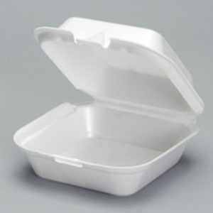 "Picture of item 217-715 a Snap It Foam Hinged Container.  Jumbo Sandwich Size.  6.38"" x 6.44"" x 2.94"".  White Color.  125 Containers/Sleeve."
