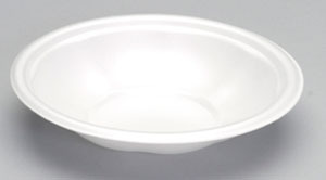 "Picture of item 217-727 a Foam Bowl.  24 oz.  White Color.  9"" Dia. x 1.5"" Tall.  400 Bowls/Case."