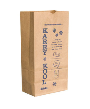 "Picture of item 969-778 a Ice Cream Bag.  12 lb. Size.  7-1/16"" x 4-1/2"" x 13-3/4"".  57 lb. Kraft Paper."