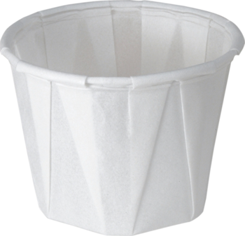 Picture of item 106-303 a Treated Paper Soufflé Portion Cups.  1.00 oz.  White Color.  250 Cups/Tube.