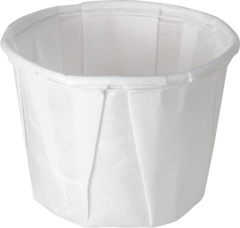 Picture of item 106-201 a Treated Paper Soufflé Portion Cups.  0.50 oz.  White Color.  250 Cups/Tube.