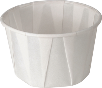 Picture of item 106-305 a Treated Paper Soufflé Portion Cups.  2.00 oz.  White Color.  250 Cups/Tube.