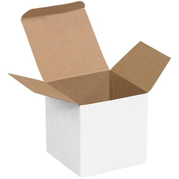 "Picture of item 969-273 a Reverse Tuck Folding Cartons.  4"" x 4"" x 4"".  White Color."