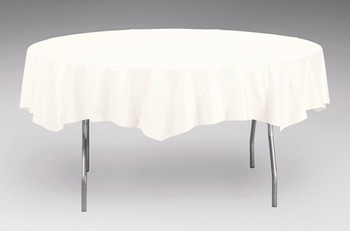 "Picture of item 967-365 a Tablecover.  82"" Round.  White Tissue with Poly Backing."