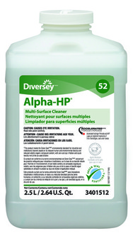 Picture of item P601-212 a Alpha-HP® Multi Surface Cleaner.  Green Seal Certified.  2.5 Liter J-Fill. Colorless with a citrus scent. 2/cs.