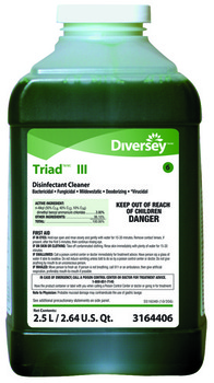 Picture of item P604-214 a Triad™ Disinfectant Cleaner. 2.5 Liter J-Fill, 2/cs. Green in color, mint scent. quaternary-based, heavy-duty alkaline cleaner and disinfectant concentrate for use in healthcare, education, lodging and commercial facilities.