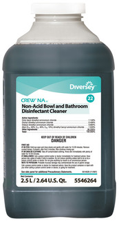Picture of item P682-504 a Crew® NA SC Non-Acid Bowl & Bathroom Disinfectant Cleaner.  2.5 Liter J-Fill®. 2/cs. Blue in color with a floral scent.