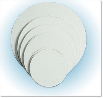 "Picture of item 261-303 a Cake & Pizza Circle.  10"" Diameter.  White Color.  Corrugated Grease Proof Board."