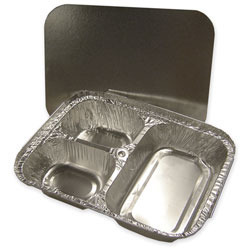 Picture of item 329-604 a Western Plastics 3 Compartment Hi-Divider Combo Foil Container. Includes Lid. 250/cs.