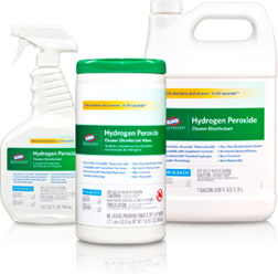 Picture of item 601-725 a Clorox Healthcare® Hydrogen Peroxide Cleaner Disinfectant Wipes. 185 Wipes/Canister.  2 Canisters/Case.