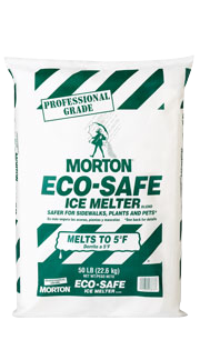 Picture of item 625-402 a Morton Eco-Safe Salt.  50 lb. Bag. Melts to -5°F and above.