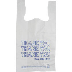 "Picture of item 705-298 a Thank You Bag.  13"" x 8"" x 23"".  17 Microns.  White Background with Green Text."