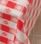 "Picture of item 176-102 a Red and White Gingham Tablecover. 40"" x 300'. 1 ply paper with poly back."